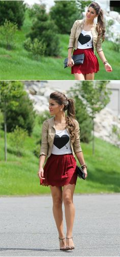 Red skirt. Rock glam. #fashion