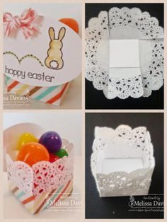 Teeny Tiny Doily Treat Box Adhere a 1 14 Whisper White square in the center Teeny Tiny Doily Treat Box Adhere a 1 14 Whisper White square in the center Diy Abschnitt Paper Doily Crafts, Doilies Crafts, Paper Doilies, Diy Paper, Paper Napkins, Ostern Party, Diy And Crafts, Crafts For Kids, Papier Diy