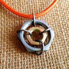 Men's Orange Cord Necklace with Large Steel and Brass Hex Nut Hardware Pendent