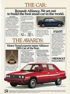 https://flic.kr/p/HeydRK | Vintage Automobile Advertising For The 1983 Renault Alliance, Motor Trend's 1983 Car Of The Year, Included In Esquire Magazine, June 1983 Issue