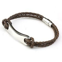 Titanium Steel Coffee Double-chain Leather Woven Bracelet (buy 1 get 2 free gifts) – USD $ 9.99
