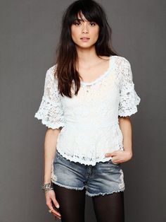 Free People With Flair Lace Top, $88.00