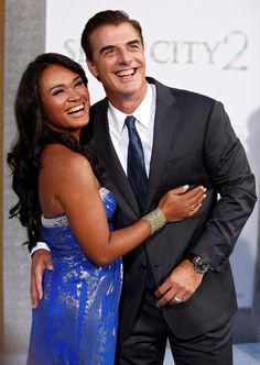 Celebrity Marriage: Chris Noth & Tara Wilson, (m. Interracial Celebrity Couples, Biracial Couples, Interracial Family, Interracial Marriage, Chris Noth, Mixed Couples, Couples In Love, Bolo Amelia, Interacial Couples