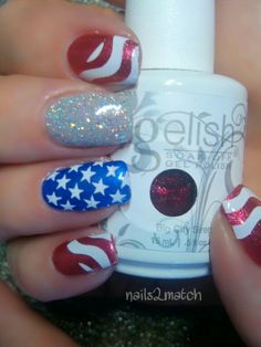 2013 July 4 nail art update with Gelish