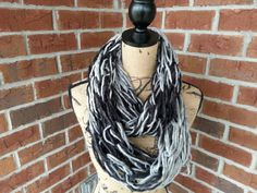 Wool knitted infinity scarf black white and gray lightweight scarf dressy scarf infinity cowl arm knit scarf fashion scarf bulky scarf by KatesHandiwork