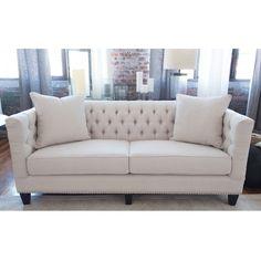 South Beach Tufted Sofa in Seashell Fabric #dynamichome #sofa #seashell #fabric…