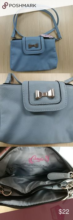 🍬 Light blue crossbody purse, NWT Candies light blue crossbody purse, NWT Three compartments Zippered closure and metal clasp Measurements are 8 inches L x 6 inchesH x .5 inches D Love this bag!  30% off a bundle of three or more items Everything is negotiable Smoke free home Pet free home All items deserve a 2nd chance at happiness Currently not trading Candie's Bags Crossbody Bags