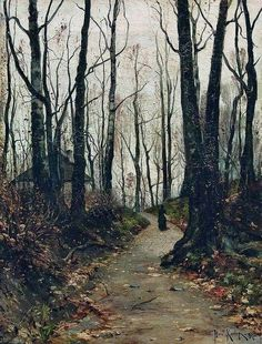 """Julius von Klever, """"A Lady Walking on a Road to the Farm"""" 1887"""