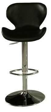 "Pastel Furniture Cagliari 30"" Barstool in Chrome Upholstered in Black"