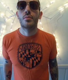 Vintage Orange Maryland State Police Tshirt by WylieOwlVintage, $15.00