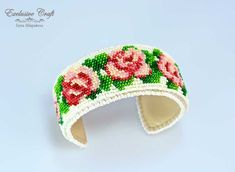 bead embroidered roses cuff bracelet