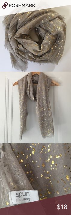 Spun by Subtle Luxury Speckled Metallic Scarf Lightweight Scarf with speckled gold. Can be dressed up or down. Worn once, excellent condition! Subtle Luxury Accessories Scarves & Wraps