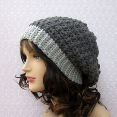 Gray+Slouchy+Crochet+Hat++Womens+Slouch+by+ColorMyWorldCrochet