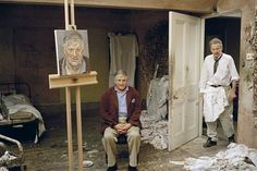 """Lucian Freud Painting David Hockney — This operates for me on so many levels. A. Lucian Freud (a big fave) B. David Hockney (a bigger fave) C. I'll never complain about my studio being """"messy"""" ever again."""