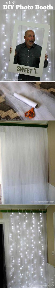 Easy Photo Booth Tutorial Idea by DIY Ready at http://diyready.com/20-diy-photo-booth-ideas/