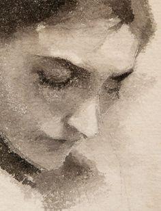 Helene Schjerfbeck, portrait à l'aquarelle, détail                                                                                                                                                                                 More