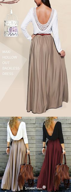 Simple and sexy! You can be sexier this Fall! Try on Sammydress's alluring open back draped maxi dress. It makes your back as delicate as the front! Make your back line prettier and more attractive! Build your confidence and show your charm. Great choice