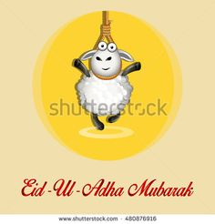 Eid Al Adha. Greeting Card Design with Cute Baby Sheep for Muslim Community…