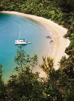 This idyllic beach in Te Pukatea Bay is part of Abel Tasman National park, named for the Dutchman who in 1642 came, didn't conquer (after a brief battle with the Maori), and left. The park was created three hundred years later, in part to halt logging.