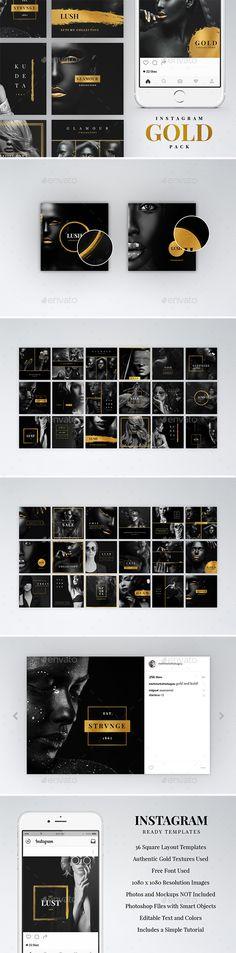 Instagram Gold Pack — Photoshop PSD #elegant #upscale • Download ➝ https://graphicriver.net/item/instagram-gold-pack/19230215?ref=pxcr