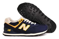 New Balance 574 Mens Running Shoes Retro Canvas Navy Yellow Mens New Balance 574, New Balance Women, New Balance Shoes, Running Shoes For Men, Mens Running, Sports Footwear, Training Shoes, Blue Shoes, Shoes Online