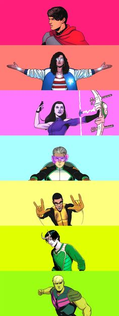 Young Avengers (2013).  I like how they did this other than the fact that it isn't in rainbow order.
