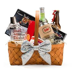 Life of the Party Gift Basket - Start with a large woven basket and get the party started with Sip & Gulp mason jars, margarita mixers, an insulated beer stein, and a drinking game set. Top it off with essential snacks - salted mixed nuts, crackers, pepper jack cheese and Amber Harvest Mills original beer bread.