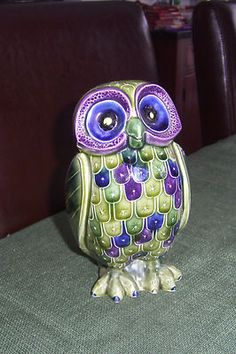 "7"" Tall Art Pottery Owl Hand Painted Colorful Japan 