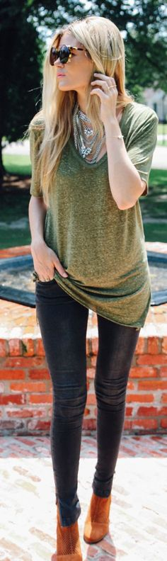 Leith Olive Green Mocked Oversize V-neck Tshirt by Barefoot Blonde Zip side jeans