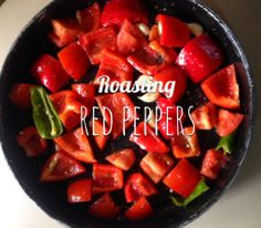 Roasting peppers for my roasted red pepper soup, perfect to warm you up!