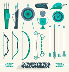 Archery icons and silhouettes vector by JamesDaniels on VectorStock®