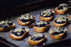 Blackberry & Honey Crostini with Blue Cheese Recipe Appetizers with semolina, olive oil, blackberries, honey, honey, corn starch, crumbled blue cheese, fresh basil, walnuts
