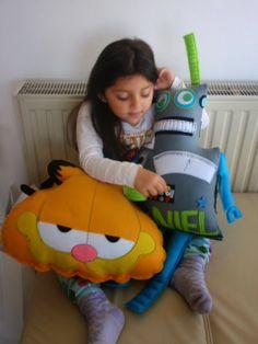 Handmade felt robot and Garfield pillow