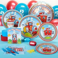 Climb aboard for an afternoon of fun with this Two Train Standard Party Pack for 8! Pack for 8 includes: 8 invitations, dinner plates, dessert plates, cups, forks, spoons, 16 napkins, solid-color tabl
