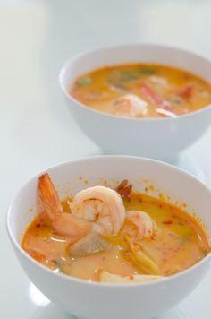 #recette de la soupe au lait de coco, épices et aux crevettes !