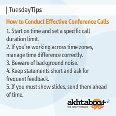 In today's age of reduced travel, conference calls have become a daily ritual. For effective calls that won't waste your time or any of your team's time, Akhtaboot provides you with some suggestions for making conference calls more effective and efficient.