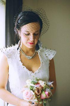 A bride in spikes - rocknroll bride extraordinaire Ruthanne #onefabday