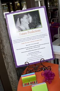 """I love this idea! My """"brides"""" did it instead of a sign in book. They provided cards and envelopes marked with 1, 5, 15 and 25. The guests were to predict where or what the couple will be doing at said number of years from the wedding date. They will be opened at each coordinating anniversary. :)"""