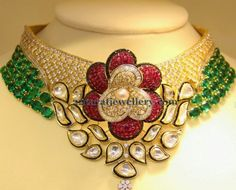 Floral Patterned Colorful Trendy Choker - Jewellery Designs