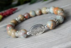 About the Bracelet Beautiful natural shades of aqua terra jasper blends perfectly with a tree branch to create this nature inspired bracelet. Bracelet Details: This beautiful blue bracelet is made wit