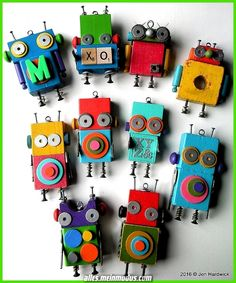 DIY Robot Idea with Colored Wooden Blocks, Simple Hardware, ABCs, Geo Shapes, and Recyclables. Such Fun & Games with Creative Robot Characters. By Jen Hardwick Wood Crafts, Fun Crafts, Diy And Crafts, Arts And Crafts, Diy For Kids, Crafts For Kids, Diy Robot, Junk Art, Recycled Art
