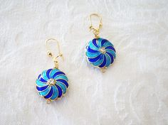 """Cloisonne Gold Finished Copper Earrings - 1""""1//2"""
