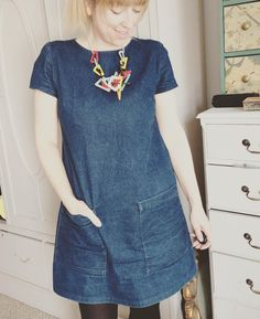 #mmmay16 today is one of my favourite staples the camber dress from @merchantandmills in denim! I have 2 & I wear them all the time!  So much so on the days I don't show any #memademay pics rest assured I'll be wearing one! Love it for its easy perfect style and simplicity nice to jazz up with jewellery.  #imakemyclothes #camberpattern #merchantandmills #tattydevine #denimdress #sewcialist by thestitchingmagpie - Pinned by @FancyAsMilly on instagram - Denim Crop Top, Crop Tops, Sewing Tutorials, Sewing Patterns, T Shirt Tutorial, Merchant And Mills, Tatty Devine, Dress Making Patterns, Dressmaking