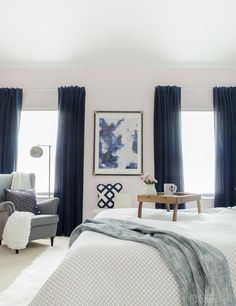 Gorgeous Master Bedroom With Dramatic Navy D It S So Glam And Cozy At The Same Time