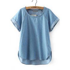 SheIn(sheinside) Blue Short Sleeve Dip Hem Denim Blouse (765 DOP) ❤ liked on Polyvore featuring tops, blouses, blue, blue top, short sleeve blouse, denim blouse, denim top and slimming tops