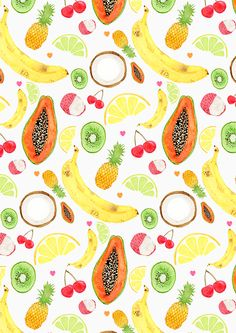 fruit salad pattern by laura redburn - illustrations of bananas, pineapples, limes, lemons, cherries, papaya and lychees