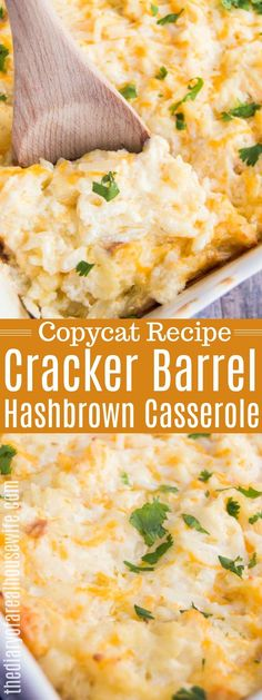 AMAZING Cracker Barrel Hashbrown Casserole - My list of the best food recipes Chicken Hashbrown Casserole, Cracker Barrel Hashbrown Casserole, Breakfast Potato Casserole, Breakfast Potatoes, Cracker Barrel Potatoes, Breakfast Hash, Cracker Barrel Sweet Potato Casserole Recipe, Morning Breakfast, Cracker Barrel Homestyle Chicken Recipe