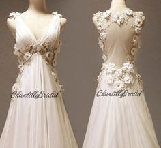 V-neck A-line Bridal Gown Chiffon Beach Wedding Dress Elegant Ball Gown with Flower on Etsy, $212.42 AUD