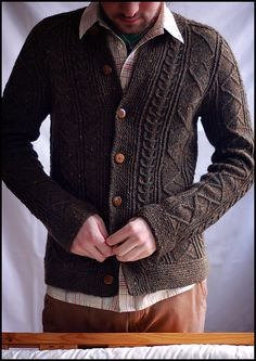 Saddle Shoulder Aran Cardigan WG63 SO49 by Meg Swansen