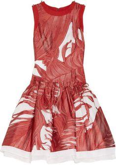 Prabal Gurung Dropped waist silk fil coup dress Prabal Gurung